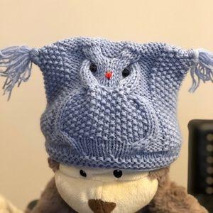 Funny Owl Handmade wool/acrylic baby hat.